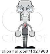 Clipart Of A Cartoon Skinny Sad Business Robot Royalty Free Vector Illustration