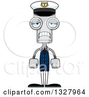Clipart Of A Cartoon Skinny Sad Robot Captain Royalty Free Vector Illustration