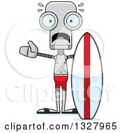 Clipart Of A Cartoon Skinny Scared Robot Surfer Royalty Free Vector Illustration
