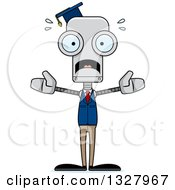Clipart Of A Cartoon Skinny Scared Robot Professor Royalty Free Vector Illustration