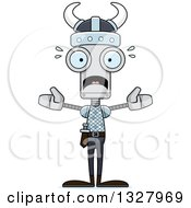 Clipart Of A Cartoon Skinny Scared Viking Robot Royalty Free Vector Illustration
