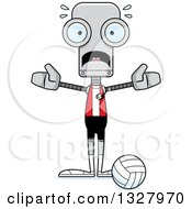 Clipart Of A Cartoon Skinny Scared Robot Volleyball Player Royalty Free Vector Illustration