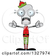 Clipart Of A Cartoon Skinny Scared Robot Christmas Elf Royalty Free Vector Illustration