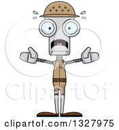 Clipart Of A Cartoon Skinny Scared Zookeeper Robot Royalty Free Vector Illustration