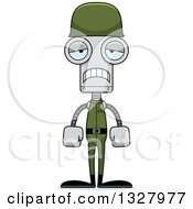 Clipart Of A Cartoon Skinny Sad Soldier Robot Royalty Free Vector Illustration
