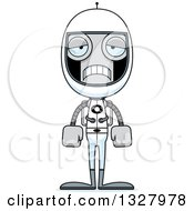 Clipart Of A Cartoon Skinny Sad Astronaut Robot Royalty Free Vector Illustration