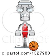 Clipart Of A Cartoon Skinny Sad Robot Basketball Player Royalty Free Vector Illustration