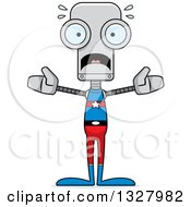 Clipart Of A Cartoon Skinny Scared Super Hero Robot Royalty Free Vector Illustration