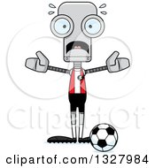 Clipart Of A Cartoon Skinny Scared Robot Soccer Player Royalty Free Vector Illustration