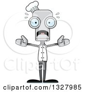 Clipart Of A Cartoon Skinny Scared Chef Robot Royalty Free Vector Illustration