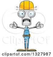 Cartoon Skinny Scared Robot Construction Worker