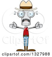 Clipart Of A Cartoon Skinny Scared Robot Cowboy Royalty Free Vector Illustration