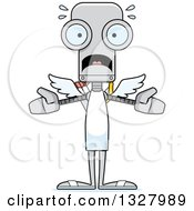 Clipart Of A Cartoon Skinny Scared Robot Cupid Royalty Free Vector Illustration