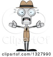 Clipart Of A Cartoon Skinny Scared Robot Detective Royalty Free Vector Illustration