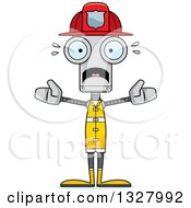 Clipart Of A Cartoon Skinny Scared Robot Firefighter Royalty Free Vector Illustration