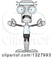 Clipart Of A Cartoon Skinny Scared Fitness Robot Royalty Free Vector Illustration