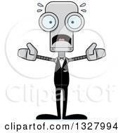 Clipart Of A Cartoon Skinny Scared Robot Groom Royalty Free Vector Illustration
