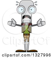Clipart Of A Cartoon Skinny Scared Robot Hiker Royalty Free Vector Illustration