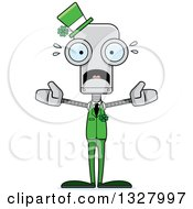 Clipart Of A Cartoon Skinny Scared St Patricks Day Robot Royalty Free Vector Illustration