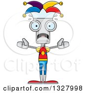 Clipart Of A Cartoon Skinny Scared Robot Jester Royalty Free Vector Illustration