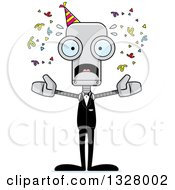 Clipart Of A Cartoon Skinny Scared Party Robot Royalty Free Vector Illustration