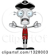 Clipart Of A Cartoon Skinny Scared Pirate Robot Royalty Free Vector Illustration