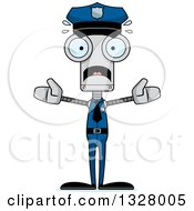 Clipart Of A Cartoon Skinny Scared Robot Police Officer Royalty Free Vector Illustration