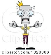 Clipart Of A Cartoon Skinny Scared Robot Prince Royalty Free Vector Illustration