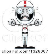 Clipart Of A Cartoon Skinny Scared Robot Race Car Driver Royalty Free Vector Illustration