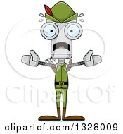 Clipart Of A Cartoon Skinny Scared Robin Hood Robot Royalty Free Vector Illustration
