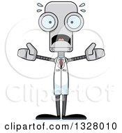 Clipart Of A Cartoon Skinny Scared Robot Scientist Royalty Free Vector Illustration