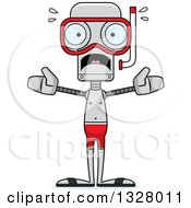 Clipart Of A Cartoon Skinny Scared Robot In Snorkel Gear Royalty Free Vector Illustration