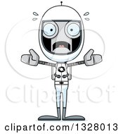 Clipart Of A Cartoon Skinny Scared Astronaut Robot Royalty Free Vector Illustration