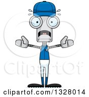 Poster, Art Print Of Cartoon Skinny Scared Baseball Robot