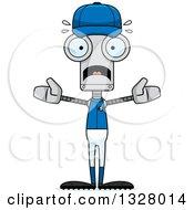 Clipart Of A Cartoon Skinny Scared Baseball Robot Royalty Free Vector Illustration