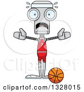 Clipart Of A Cartoon Skinny Scared Robot Basketball Player Royalty Free Vector Illustration