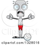 Clipart Of A Cartoon Skinny Scared Robot Beach Volleyball Player Royalty Free Vector Illustration