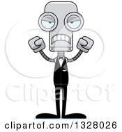 Clipart Of A Cartoon Skinny Mad Robot Groom Royalty Free Vector Illustration