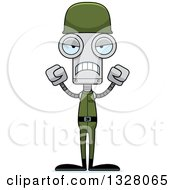 Clipart Of A Cartoon Skinny Mad Soldier Robot Royalty Free Vector Illustration