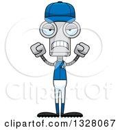 Poster, Art Print Of Cartoon Skinny Mad Baseball Player Robot