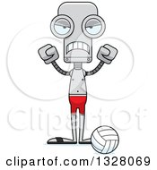 Clipart Of A Cartoon Skinny Mad Robot Beach Volleyball Player Royalty Free Vector Illustration