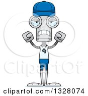 Clipart Of A Cartoon Skinny Mad Robot Sports Coach Royalty Free Vector Illustration