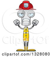 Clipart Of A Cartoon Skinny Mad Robot Firefighter Royalty Free Vector Illustration