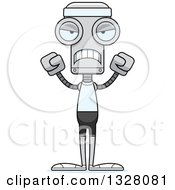 Clipart Of A Cartoon Skinny Mad Fitness Robot Royalty Free Vector Illustration