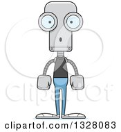 Clipart Of A Cartoon Skinny Surprised Casual Robot Royalty Free Vector Illustration