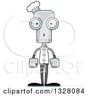 Clipart Of A Cartoon Skinny Surprised Chef Robot Royalty Free Vector Illustration