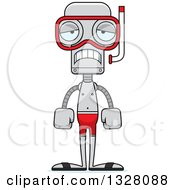 Clipart Of A Cartoon Skinny Sad Robot In Snorkel Gear Royalty Free Vector Illustration by Cory Thoman