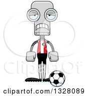 Clipart Of A Cartoon Skinny Sad Robot Socer Player Royalty Free Vector Illustration