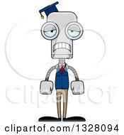Clipart Of A Cartoon Skinny Sad Robot Professor Royalty Free Vector Illustration