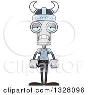 Clipart Of A Cartoon Skinny Sad Viking Robot Royalty Free Vector Illustration